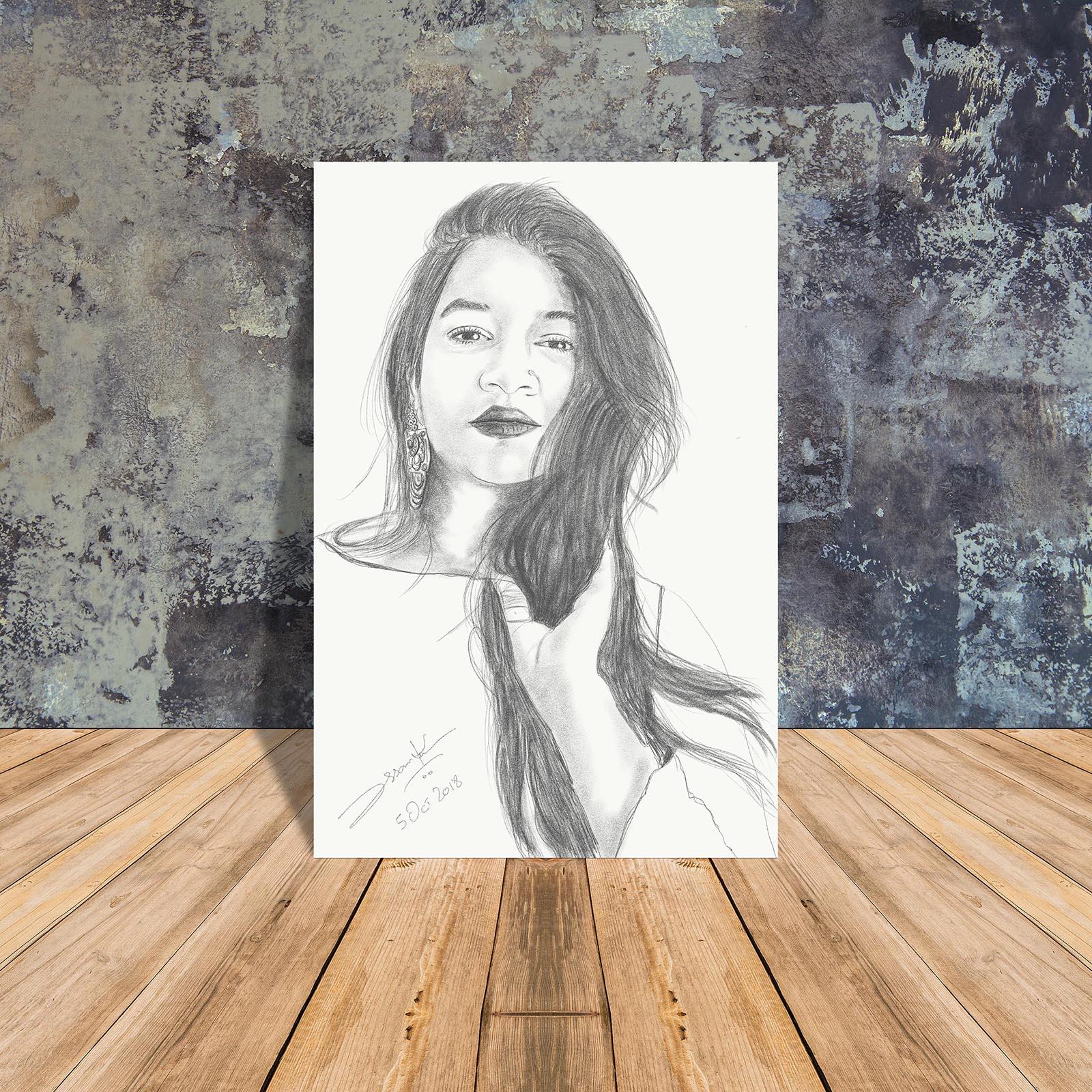 GIRL SKETCH BY ASSAM ARTIST PAKISTANI SKETCHER