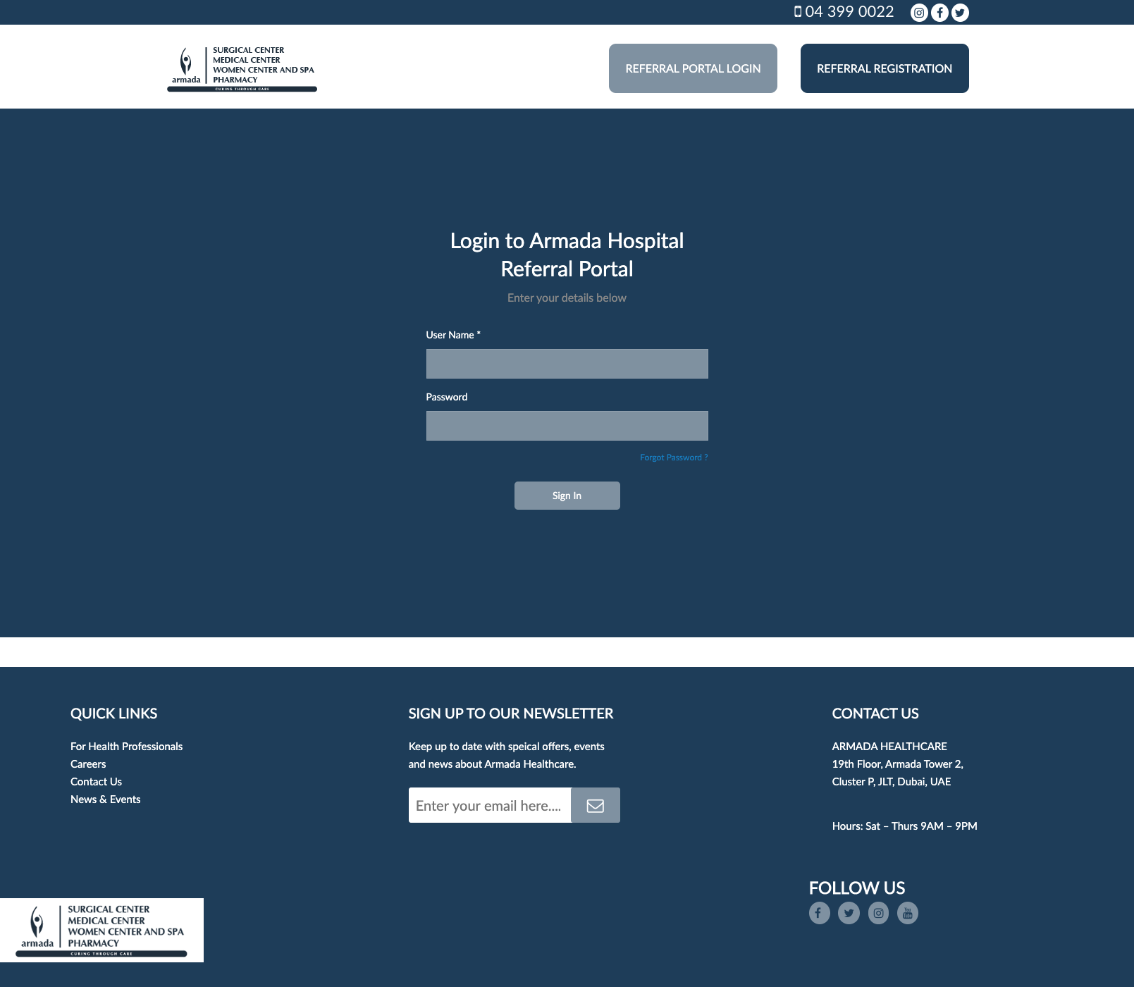login screen for referral portal design