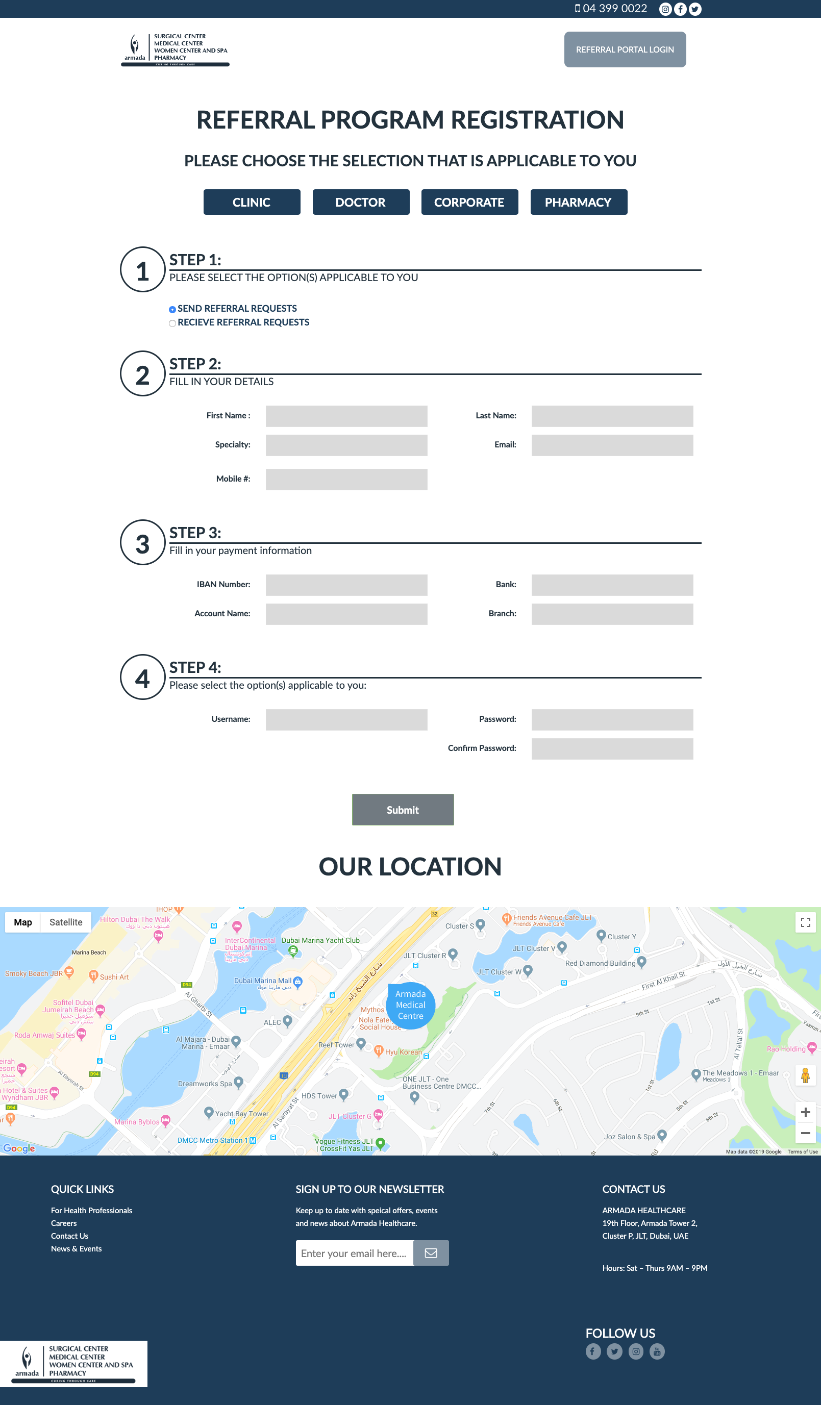 refferal form and login page design