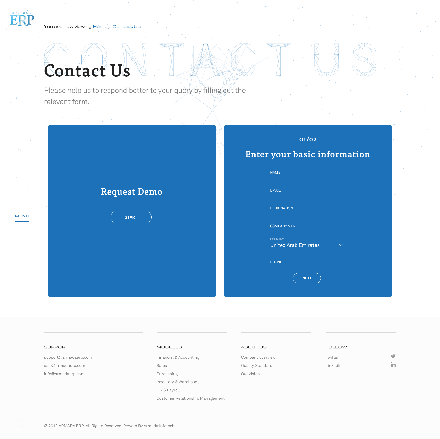 contact design for erp