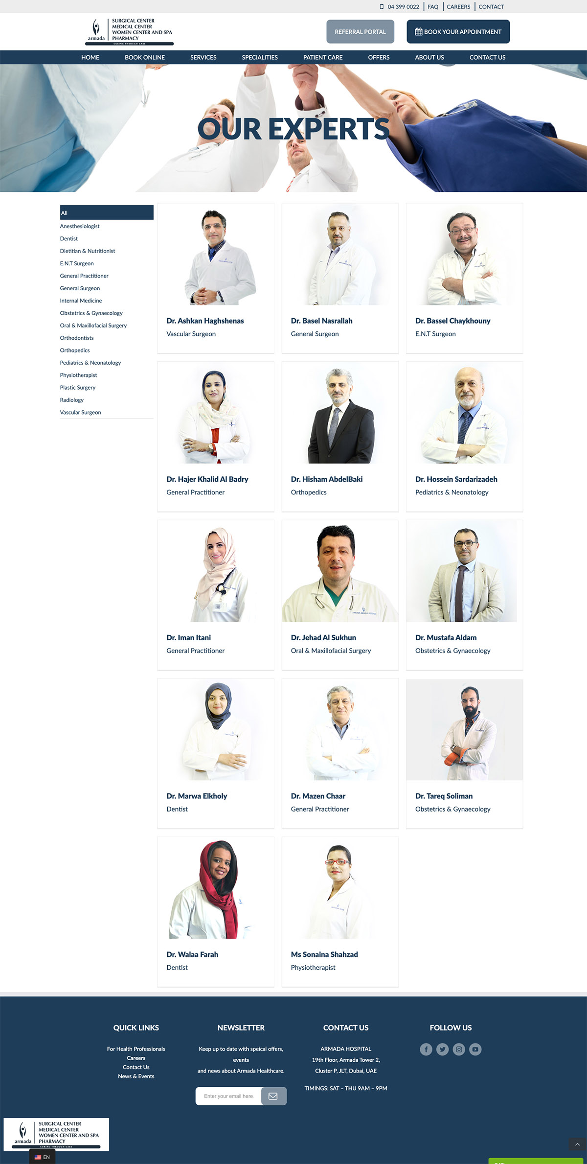 armada hospital doctors page design
