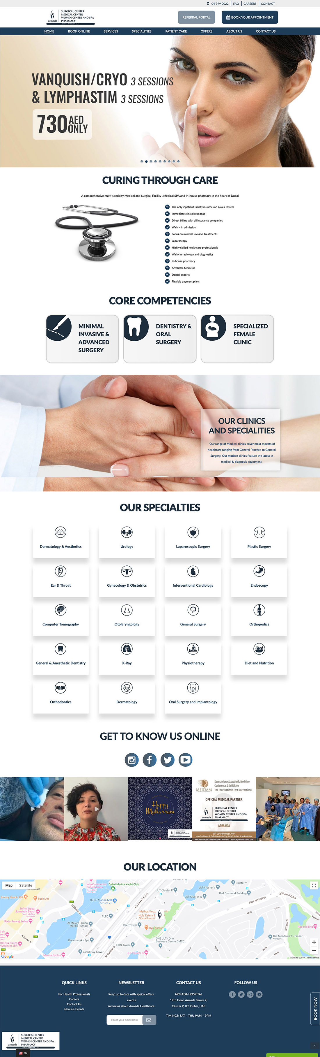 armada hospital home page design