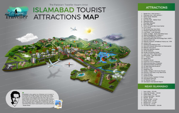 Islamabad Tourist Attractions map and city guide map
