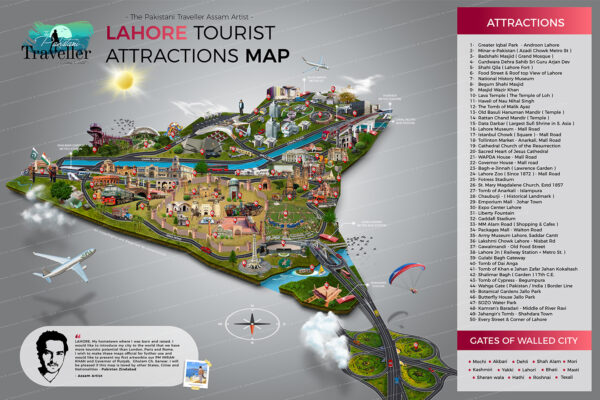 Lahore tourist map and city guide