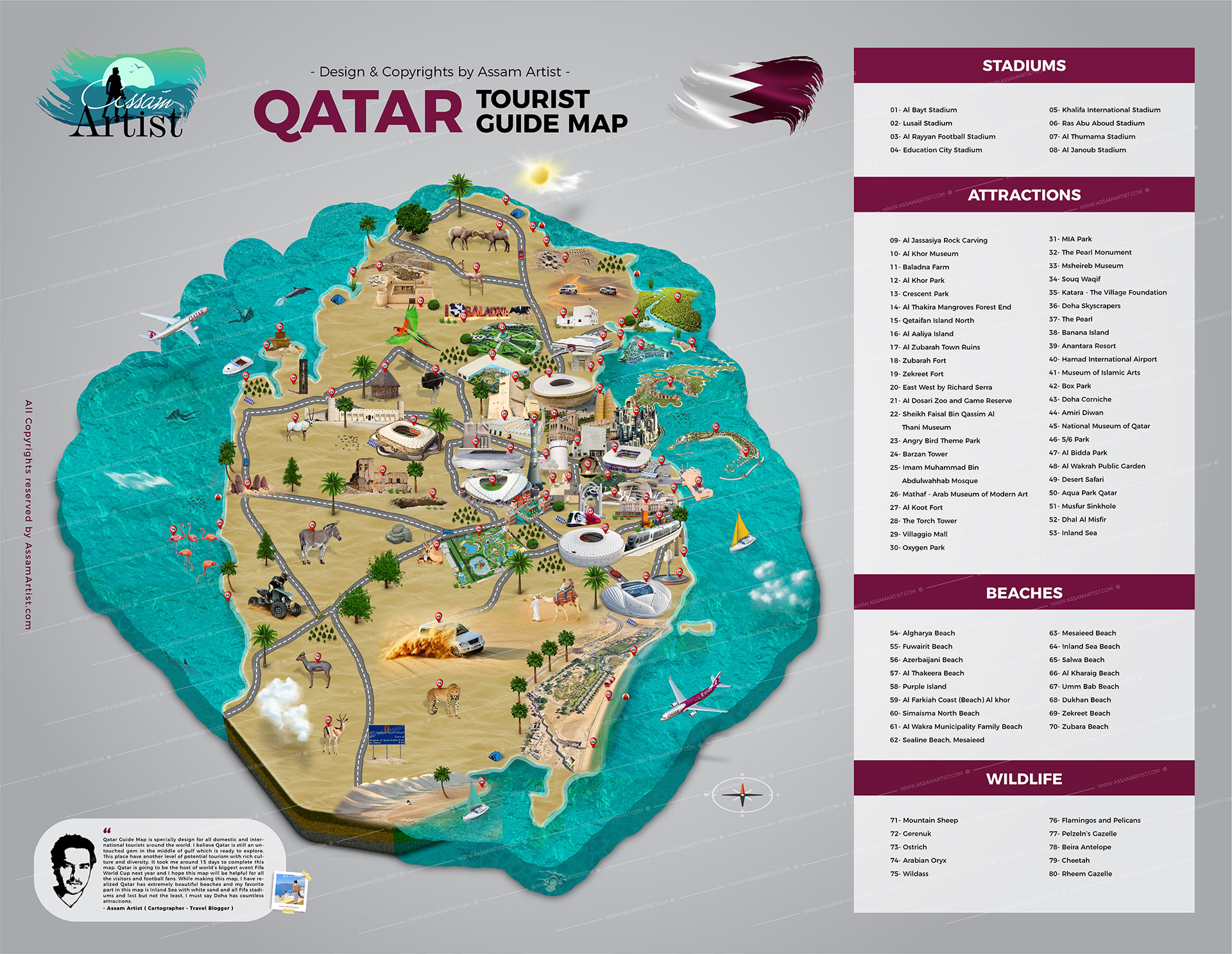 Qatar Tourist Attractions Map, Political Map